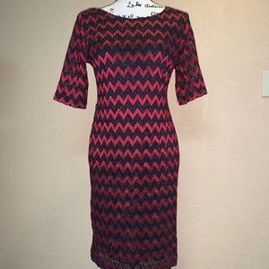 Connected Apparel black & red chevron dress